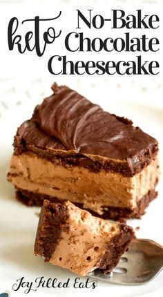 No-Bake Brownie Batter Cheesecake Low Carb Keto THM S - Joy Filled Eats Desserts - This Keto Chocolate Cheesecake is perfection! With layers of a brownie batter flavored base, luscio - No Bake Chocolate Cheesecake, Keto Cheesecake, Healthy Cheesecake Recipes, Low Carb Sweets, Low Carb Desserts, Ketogenic Desserts, Low Carb Chocolate, Chocolate Ganache, Keto Chocolate Recipe