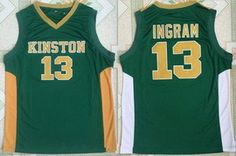 21 Men s Kinston High School Brandon Ingram  13 Green Retro Swingman  Stitched Basketball Jersey High 2b9a24d8d