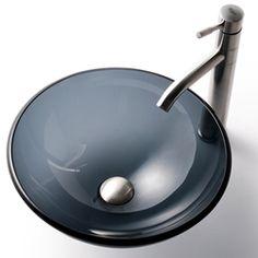 Kraus Black Clear Glass Sink/ Aldo Stainless Steel Faucet