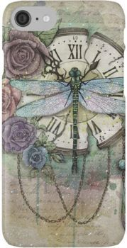 'Time Flies' Poster by marineloup-art - Kunst aus Metall Dragonfly Tattoo Design, Dragonfly Art, Tattoo Designs, Dragonfly Drawing, Tattoo Ideas, Dragonfly Tatoos, Decoupage Vintage, Vintage Art, Decoupage Paper