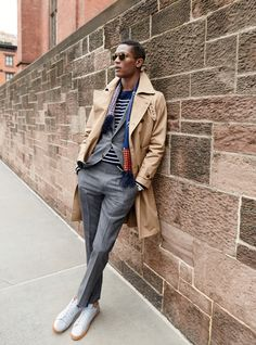 layers // menswear, fall fashion, trench coat, grey suit, preppy, nautical, sunglasses, sneakers, scarf, mens style