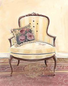 Chair with Rose Pillow Mary Kay Crowley