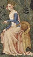 c. 1370, French.  From the Le Songe du Verger; fol 1v  The queen wears a long sleeved blue cotehardie with goblet cuffs. Her pink sideless surcoat has square cutouts, and a white fur plackard. She wears a gold belt with red stones. The tip of her black shoe protrudes.