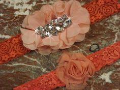 Coral Peach  Wedding Garter Set/  Bridal by Buildagarterworkshop