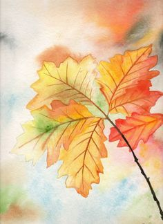 Original Watercolor Painting Fall Autumn Leaves on Wanelo