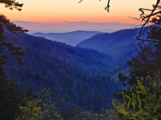 """Smoky Mountain sunset """"this was taken from Morton's Overlook in Great Smoky Mountain NP just below Newfound Gap right at sunset. Newfound Gap is close to Gatlinburg, Tennessee."""" Paul Martin (photographer)  I have an abundance of mountain views on this board...because I love this view, it never gets old..."""