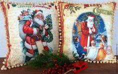 """Старинное Рождество"" - подушка,подушка декоративная,рождество,рождественский подарок"