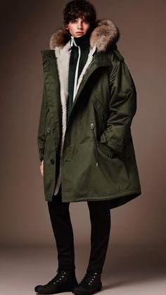 Cotton Parka with Detachable Shearling Liner | Burberry