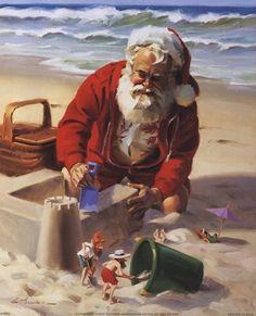 Santa and elves build a sand castle - by Tom Browning -- (coastal Christmas, beach, seashore, illustration, art)