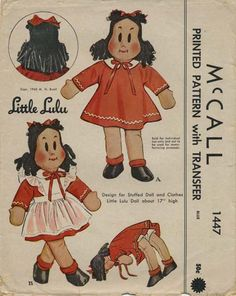 Vintage Sewing Pattern for Little Lulu Stuffed Doll | McCall 1447 | Year 1948 | Size 17"