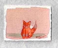 Fox dressed in Silver  original watercolor by ElissaSueWatercolors, $15.00