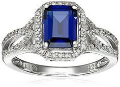 Sterling Silver Created Ceylon Sapphire and Diamond Octagon Ring 03cttw IJ Color I3 Clarity Size 7 -- Click on the image for additional details.