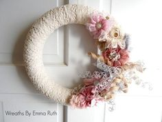 Shabby Chic Lace Yarn Wreath in Pink and Cream with Korker Ribbon and Flowers Christmas Mesh Wreaths, Deco Mesh Wreaths, Yarn Wreaths, Ribbon Wreaths, Winter Wreaths, Floral Wreaths, Burlap Wreaths, Spring Wreaths, Summer Wreath