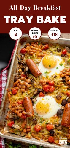 The Ultimate All Day Breakfast Tray Bake - so delicious, you will enjoy this easy simple recipe any time of day. Gluten Free,Vegetarian, Slimming World and Weight Watchers friendly astuce recette minceur girl world world recipes world snacks Slimming World Vegetarian Recipes, Slimming World Dinners, Slimming World Breakfast, Slimming Eats, Slimming Recipes, Uk Recipes, Dinner Recipes, Healthy Recipes, Healthy Breakfasts