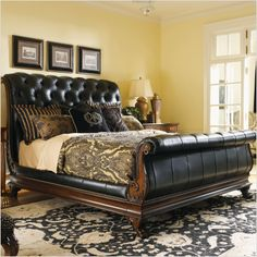 Lexington Regents Row Coventry Leather Sleigh Bed in Mahogany