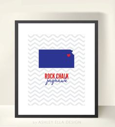 KU Rock Chalk Jayhawk Chevron Printable with State of Kansas. $3.00, via Etsy.