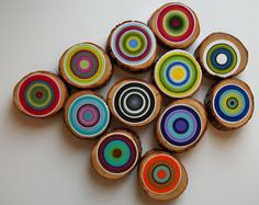 12 Modern Tree Circles  Amazing Colors Abstract Paintings on Wood  See Close Ups