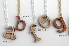 Custom Initial Necklace - Laser Cut Wooden Monogram Necklace - Made to Order