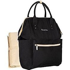 Lekebaby Baby Diaper Bapack Tote Bag Stylish w/ Stroller Straps, Changing Pad for Mom and Dad, Black