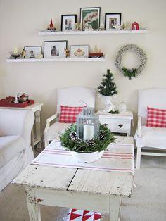 red + white plaid + striped Christmas. enamel bowl. pine cones. evergreen.