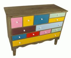Multicoloured Wooden Drawers Set Measures 95 x 40 x 70cm Practical modern stylish storage