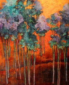 """""""Blue Grove"""" textured tree landscape painting by Carol Nelson"""