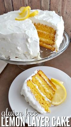 Do you want to learn how to make a layer cake? This simple gluten free lemon layer cake recipe uses a boosted box mix for the best flavor! #glutenfree #layercake #glutenfreecakes #glutenfreedessert via @happymothering