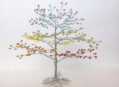 Rainbow Beaded Wire Tree Sculpture - Tree Wedding Cake Topper - LGBT Wedding