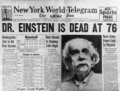 Newspapers ©: Death News of Dr. Albert Einstein (March 1879 – April [{German-born theoretical physicist who developed the general theory of relativity, one of the two pillars of modern physics (alongside quantum mechanics). Newspaper Front Pages, Old Newspaper, Newspaper Layout, Theory Of Relativity, Newspaper Headlines, E Mc2, Wtf Fun Facts, Random Facts