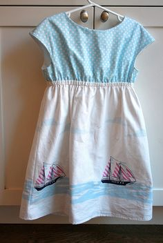 Roller Skate Dress with Boats by lisatoronto - we have this Sarah Jane Fabrics boat print at Les Fabriques.