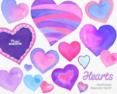 Watercolor Hearts Clipart, Valentine's Day Hearts Elements, Hand Painted Pink Purple Heart, Wedding Love Romantic Clipart, DIY Scrapbooking