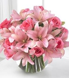 Pink Lilies and Roses Bouquet by lorrie