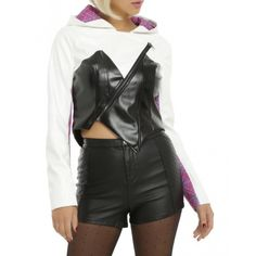 Spider Gwen Leather Jacket with Hood #SpiderGwen #Leather #Jacket #Hood #OnlineShopping