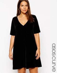 ASOS Curve | ASOS CURVE Exclusive Shift Dress In Velvet With Deep V Neck at ASOS..add some leggings & jewelry...cute