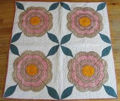 Antique Early Mid 1800s Applique Rose Crib Doll or Table Quilt made from a larger quilt  eBay, vintageblessings