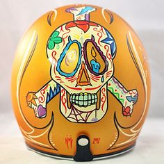 This is a beautiful New Biltwell novelty helmet that features stunning artwork and pin striping. The Sugar Skull is a traditional Mexican art form that. Custom Moto, Custom Paint Motorcycle, Bobber Custom, Custom Helmets, Retro Motorcycle Helmets, Bike Helmets, Memento Mori, Biltwell Helmet, Sugar Skull Painting