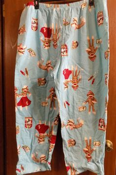 Womens Clothes: Sleep Lounge Flannel Pants Blue Sock Monkey Plus Size 3x 3xl  #Unbranded #LoungePantsSleepPants #Everyday
