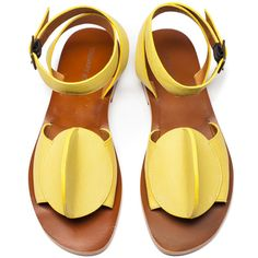 Tracey Neuls  Bling Sandals ($165) ❤ liked on Polyvore featuring shoes, sandals, real leather shoes, yellow leather shoes, leather footwear, genuine leather shoes and leather sandals