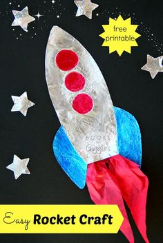 How to Make an Easy Kids' Rocket Craft that SHINES, plus 4 rocket theme picture books to go with it