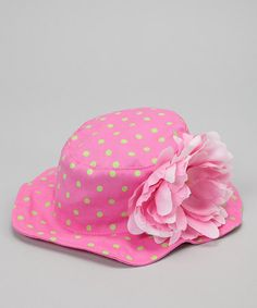 Take a look at this Pink & Green Polka Dot Savanna Sunhat by Tot Toppers on #zulily today!