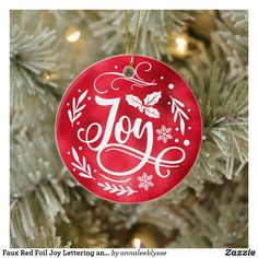 Faux Red Foil Joy Lettering and Photo Ceramic Ornament