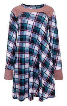 9fa5235754 Zago Womens Classic Round Neck Checkered Thin Dress Tshirt Tunic Top Green  Large ** ** AMAZON BEST BUY ** #PrettyDresses