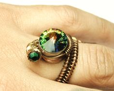 Bullet Casing wire ring - steampunk jewelry adjustable rings- cathedral swarovski crystal - steampunk ring by Dereck Maltez
