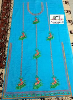 Hand Work Embroidery, Hand Embroidery Designs, Beaded Embroidery, Embroidery Patterns, Embroidery Suits Punjabi, Embroidery Suits Design, Embroidery Fashion, Khadi Kurta, Patiala Salwar Suits