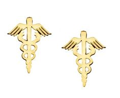 14k Yellow Gold Caduceus Stud Medical Symbol Earrings Small