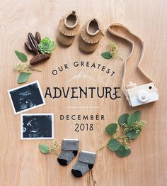 Hipster pregnancy announcement from Desert Abode. Wood camer… Hipster pregnancy announcement from Desert Abode. Wood camera, baby moccasins, sonogram and greenery. Baby On The Way, Baby Kind, Baby Love, Erwarten Baby, Baby Sleep, Baby Momma, Baby News, Pregnancy Photos, Pregnancy Tips