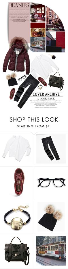 """""""Outside"""" by ladrianag ❤ liked on Polyvore featuring Kerr®, Abercrombie & Fitch, Tommy Hilfiger, Puma, Proenza Schouler, Furla, Winter and pompombeanies"""