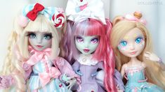 Charlotte (by Moonlight Jewel), Macaroon, and Cupcake (by Dollightful). Sugary sweet lolita doll customs!