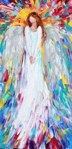 Original oil painting Angel Watching Over Me abstract palette knife impressionism fine art impasto on canvas by Karen Tarlton