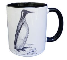 Hand drawn vintage style penguin on a ceramic mug with a glazed black handle and inner. Designed and printed in Britain. A high quality ceramic mug which is microwave proof. Height is 9.5cm, diameter 8.2cm, with a capacity of 310 ml (11oz). From the Series 6 Animals Range by Half a Donkey Ltd. www.halfadonkey.co.uk